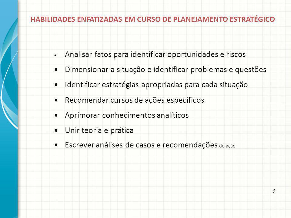 • Dimensionar a situação e identificar problemas e questões
