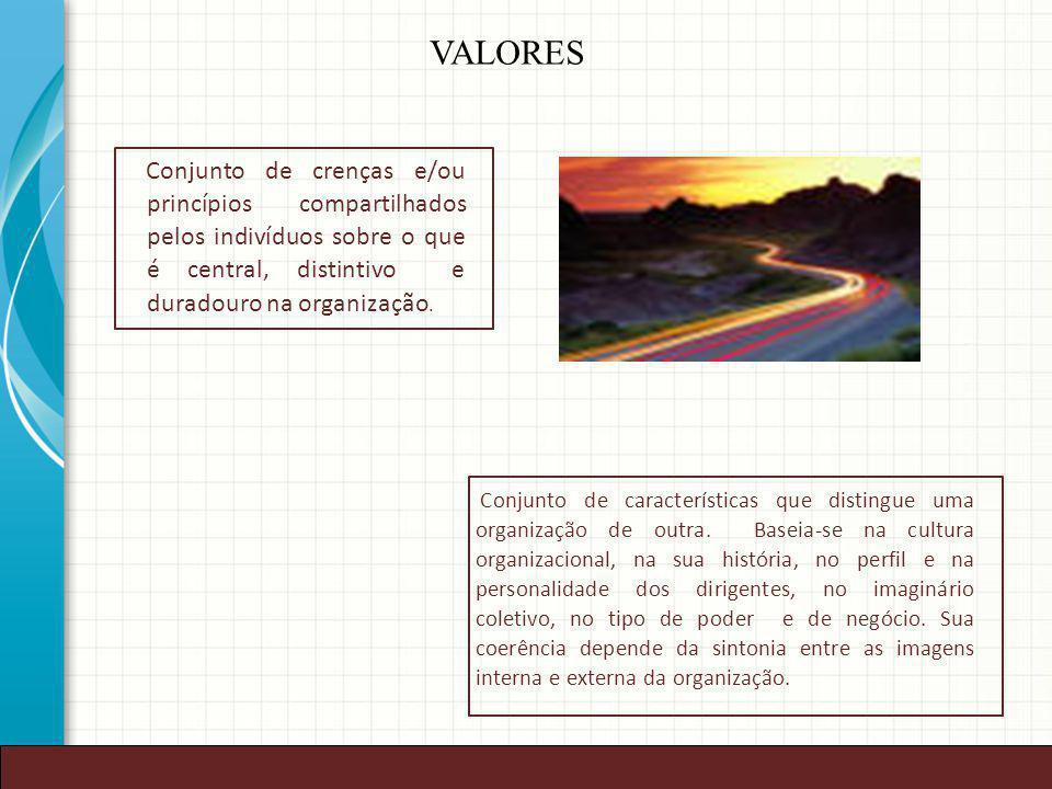 VALORES Conjunto de crenças e/ou princípios compartilhados pelos indivíduos sobre o que é central, distintivo e duradouro na organização.