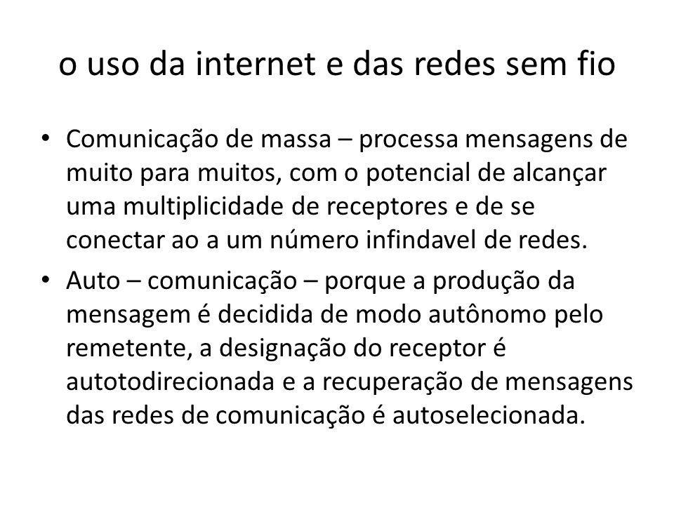 o uso da internet e das redes sem fio