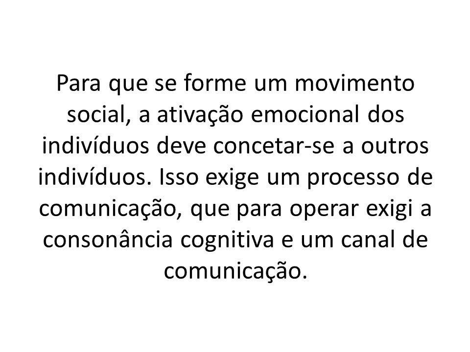 Para que se forme um movimento social, a ativação emocional dos indivíduos deve concetar-se a outros indivíduos.