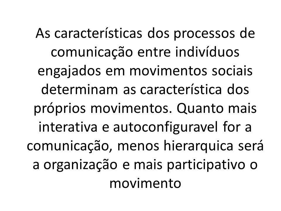 As características dos processos de comunicação entre indivíduos engajados em movimentos sociais determinam as característica dos próprios movimentos.