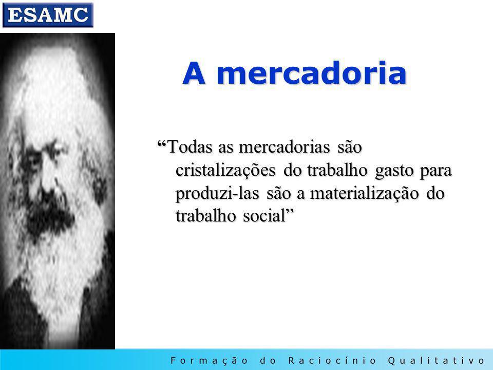 A mercadoria Todas as mercadorias são cristalizações do trabalho gasto para produzi-las são a materialização do trabalho social