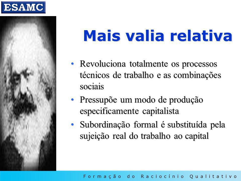 Mais valia relativa Revoluciona totalmente os processos técnicos de trabalho e as combinações sociais.