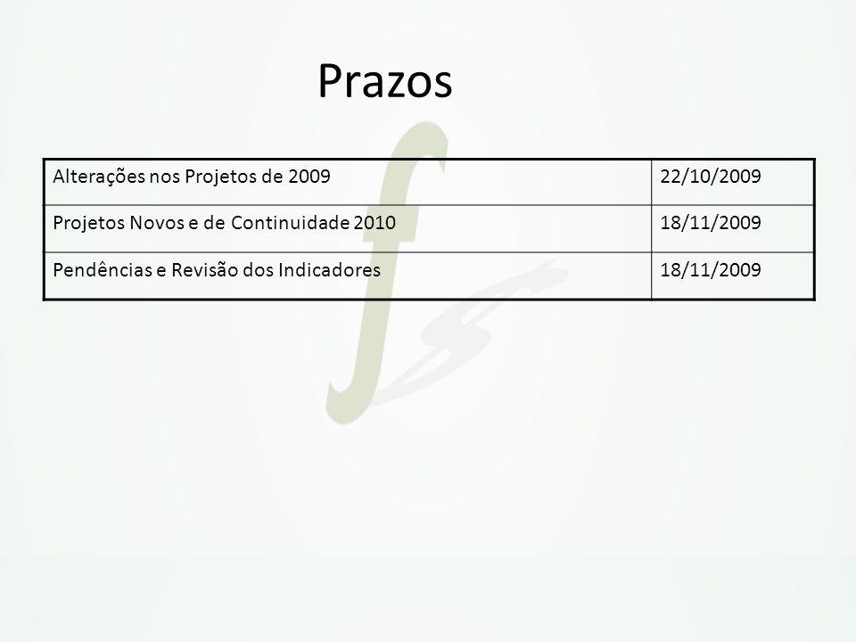 Prazos Alterações nos Projetos de 2009 22/10/2009