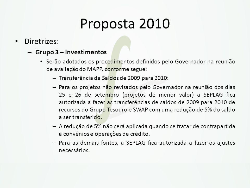Proposta 2010 Diretrizes: Grupo 3 – Investimentos