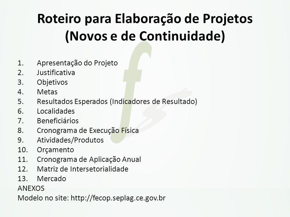 Roteiro para Elaboração de Projetos (Novos e de Continuidade)