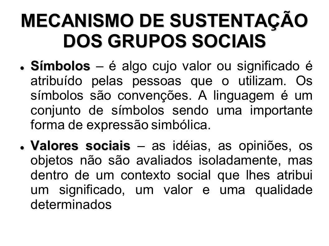 MECANISMO DE SUSTENTAÇÃO DOS GRUPOS SOCIAIS