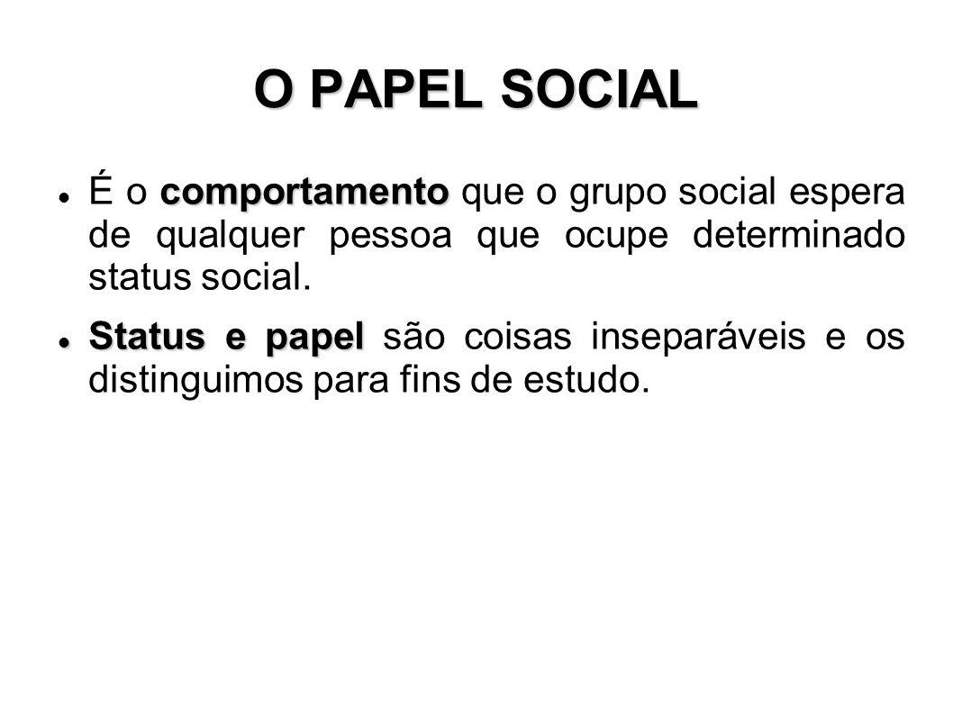 O PAPEL SOCIAL É o comportamento que o grupo social espera de qualquer pessoa que ocupe determinado status social.