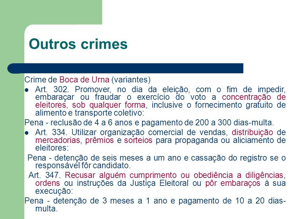 Outros crimes Crime de Boca de Urna (variantes)