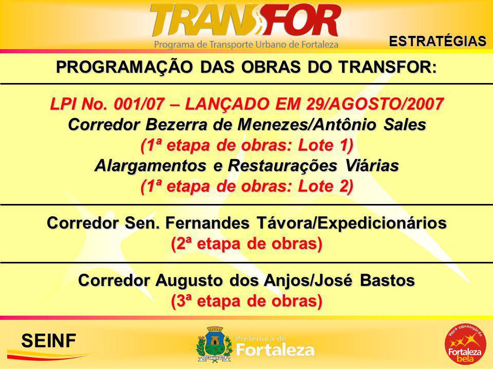PROGRAMAÇÃO DAS OBRAS DO TRANSFOR: