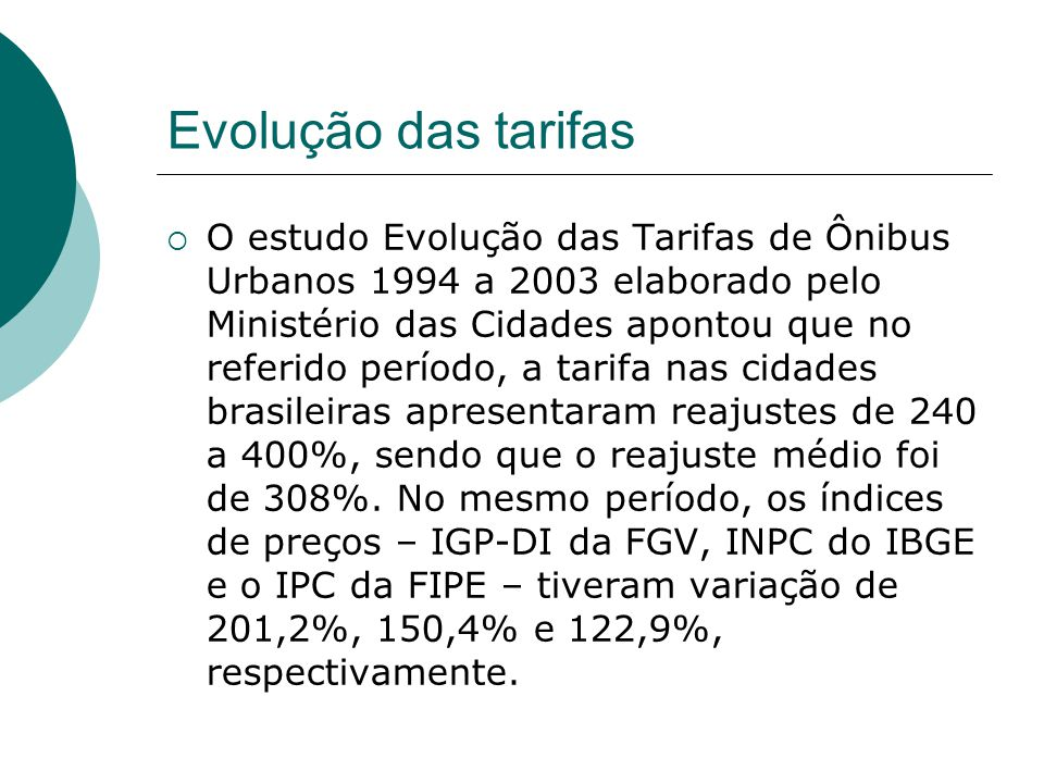 Evolução das tarifas
