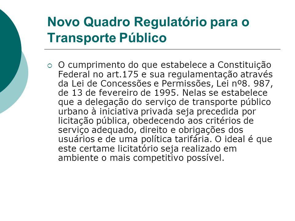 Novo Quadro Regulatório para o Transporte Público