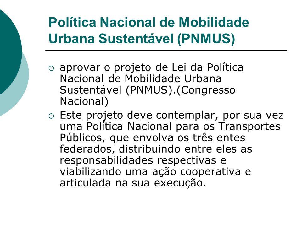 Política Nacional de Mobilidade Urbana Sustentável (PNMUS)