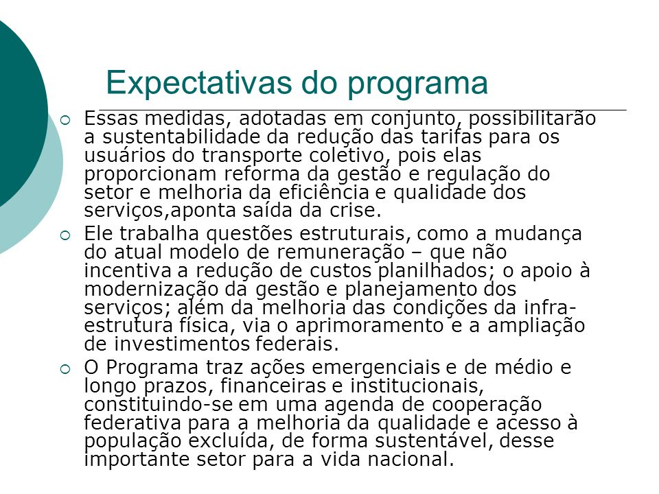 Expectativas do programa