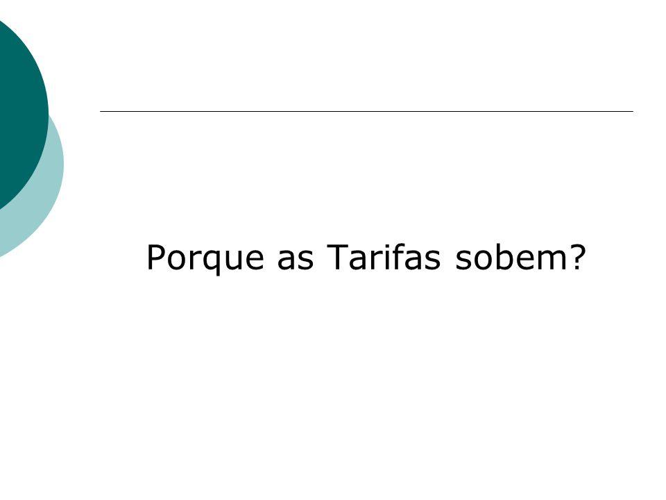 Porque as Tarifas sobem