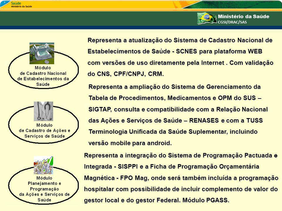Representa a atualização do Sistema de Cadastro Nacional de Estabelecimentos de Saúde - SCNES para plataforma WEB com versões de uso diretamente pela Internet . Com validação do CNS, CPF/CNPJ, CRM.