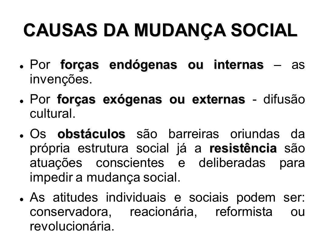 CAUSAS DA MUDANÇA SOCIAL
