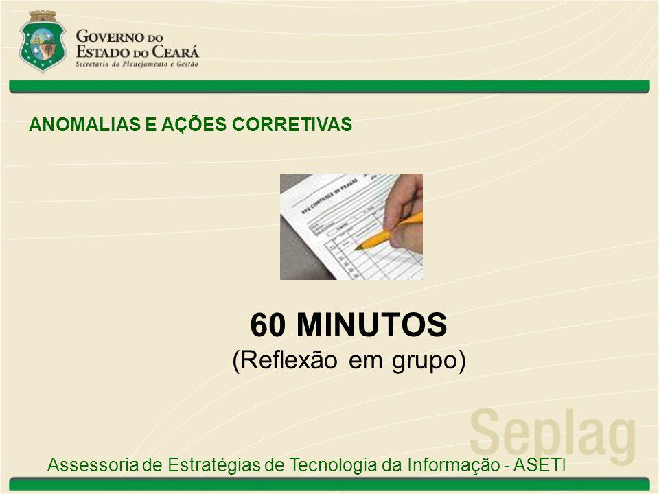 60 MINUTOS (Reflexão em grupo) ANOMALIAS E AÇÕES CORRETIVAS