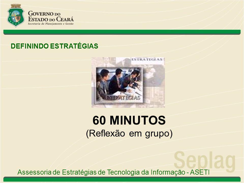 60 MINUTOS (Reflexão em grupo) DEFININDO ESTRATÉGIAS