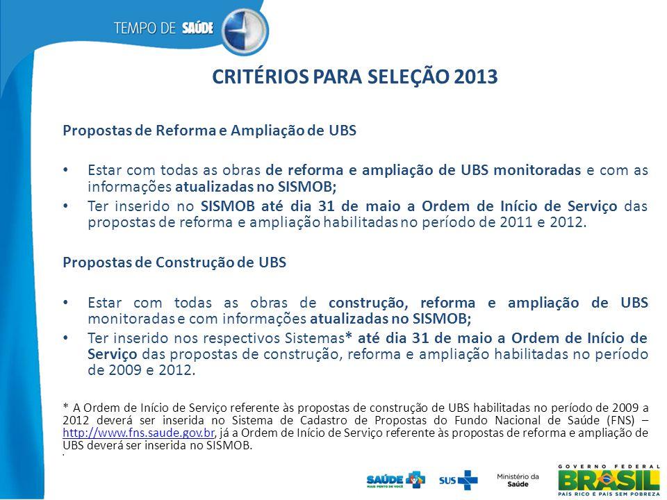 CRITÉRIOS PARA SELEÇÃO 2013