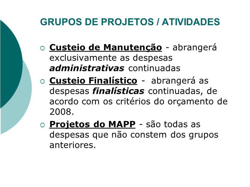 GRUPOS DE PROJETOS / ATIVIDADES
