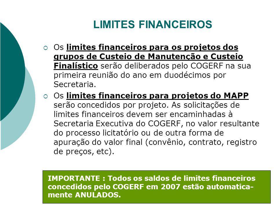 LIMITES FINANCEIROS