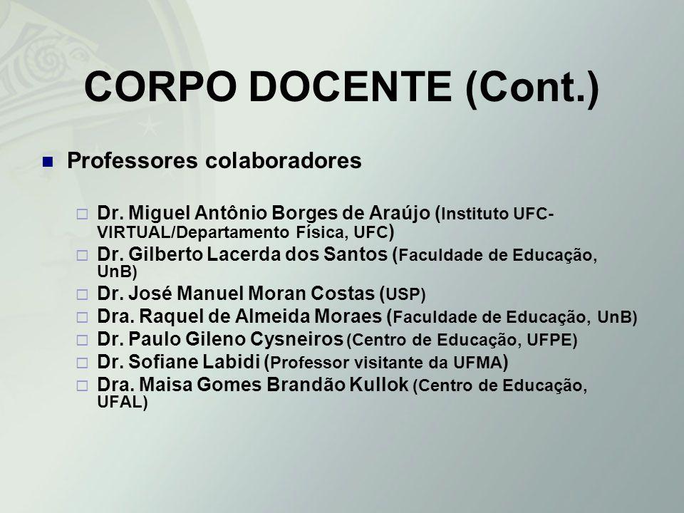 CORPO DOCENTE (Cont.) Professores colaboradores