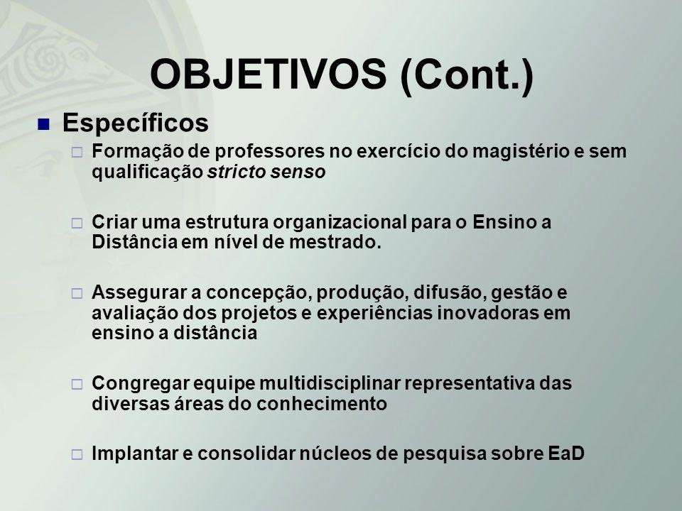 OBJETIVOS (Cont.) Específicos