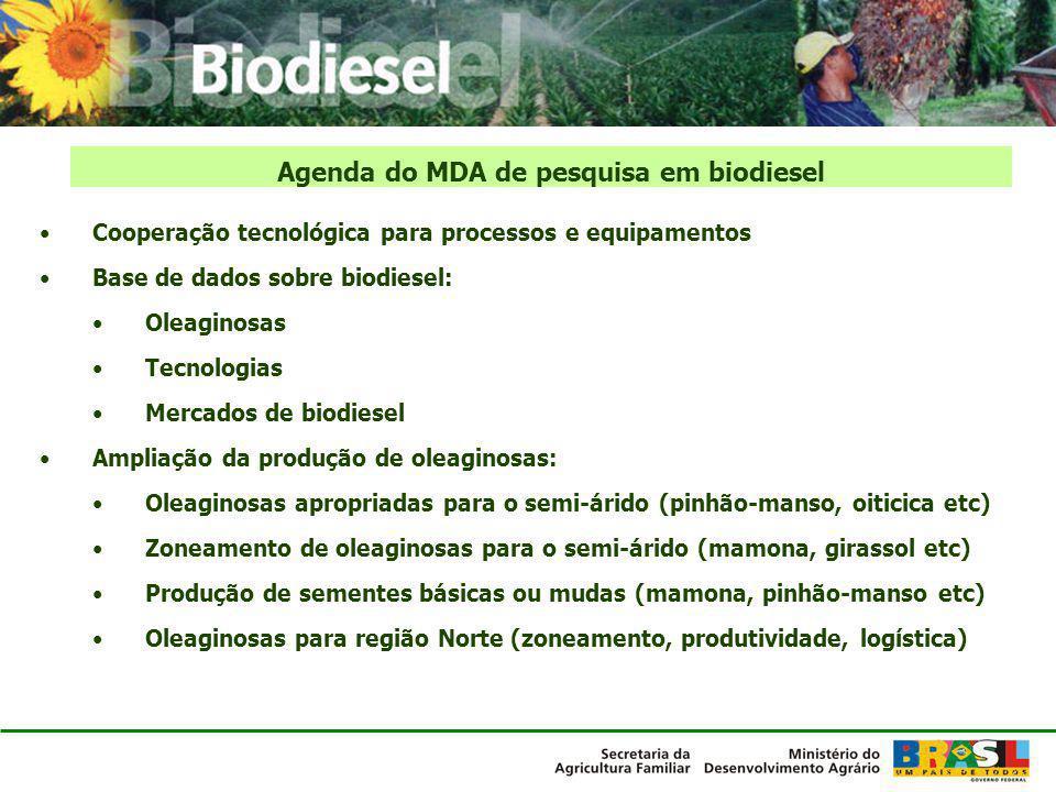 Agenda do MDA de pesquisa em biodiesel