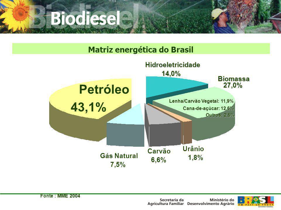 Matriz energética do Brasil Lenha/Carvão Vegetal: 11,9%