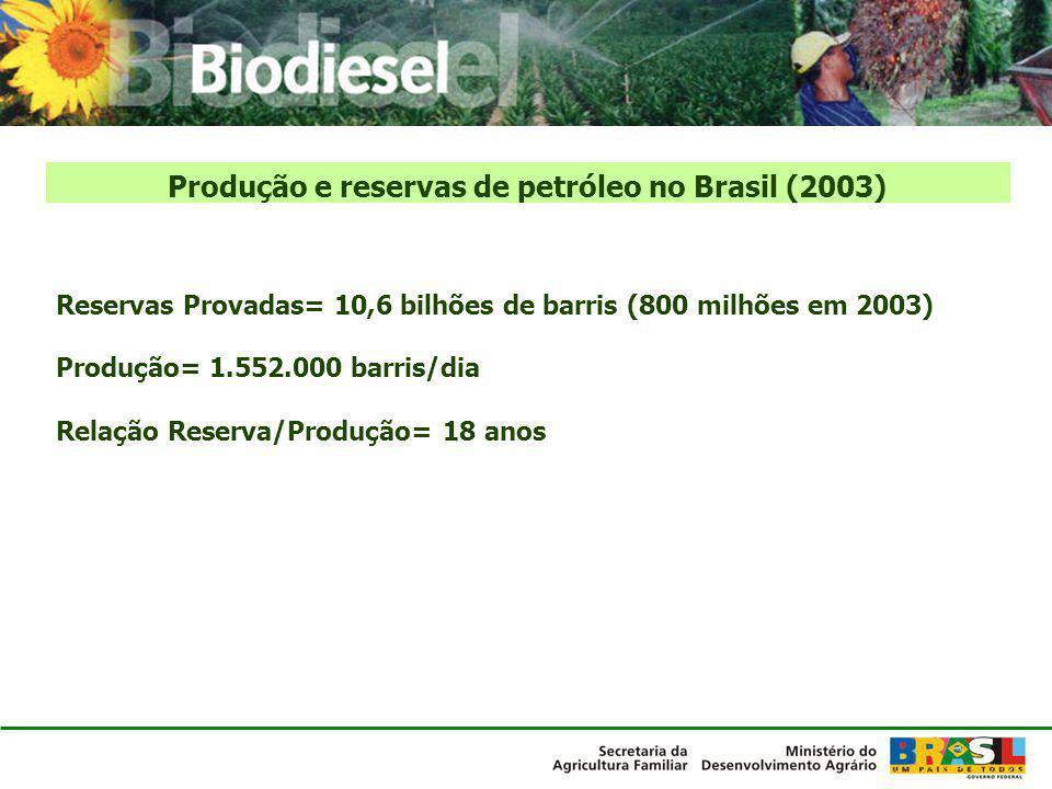 Produção e reservas de petróleo no Brasil (2003)
