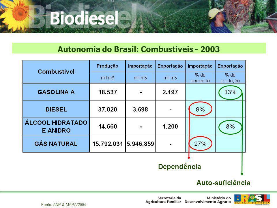 Autonomia do Brasil: Combustíveis - 2003