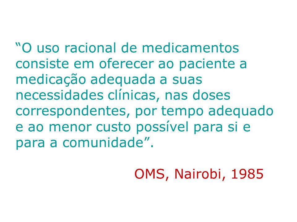 O uso racional de medicamentos consiste em oferecer ao paciente a medicação adequada a suas necessidades clínicas, nas doses correspondentes, por tempo adequado e ao menor custo possível para si e para a comunidade .
