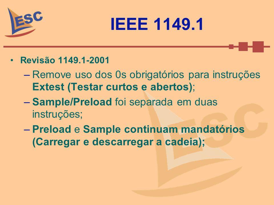 IEEE 1149.1 Revisão 1149.1-2001. Remove uso dos 0s obrigatórios para instruções Extest (Testar curtos e abertos);