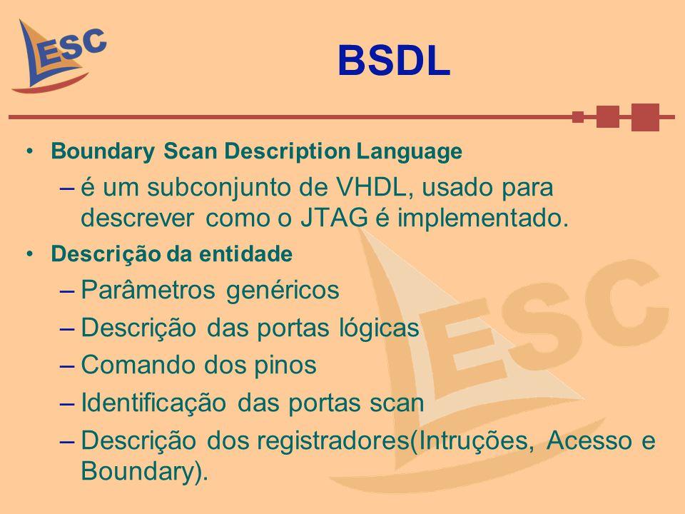BSDL Boundary Scan Description Language. é um subconjunto de VHDL, usado para descrever como o JTAG é implementado.