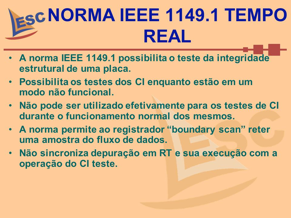 NORMA IEEE 1149.1 TEMPO REAL A norma IEEE 1149.1 possibilita o teste da integridade estrutural de uma placa.