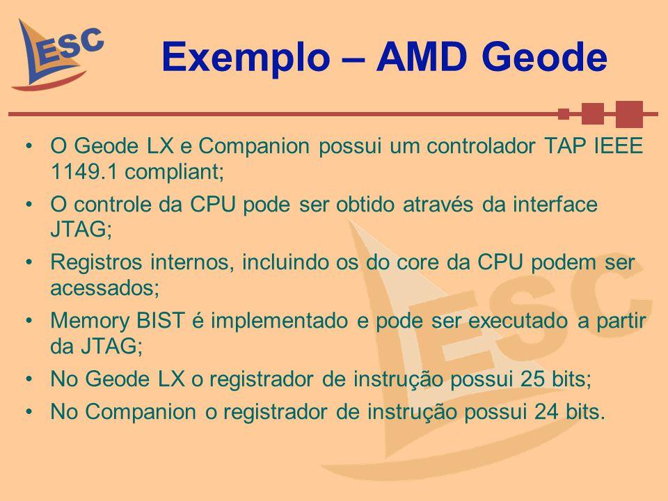 Exemplo – AMD Geode O Geode LX e Companion possui um controlador TAP IEEE 1149.1 compliant;