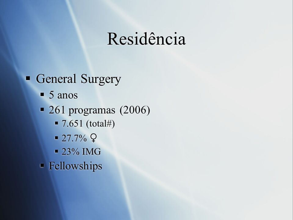 Residência General Surgery 5 anos 261 programas (2006) Fellowships