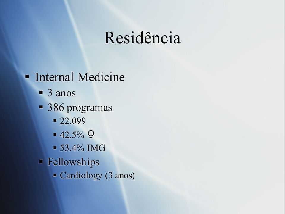 Residência Internal Medicine 3 anos 386 programas Fellowships 22.099