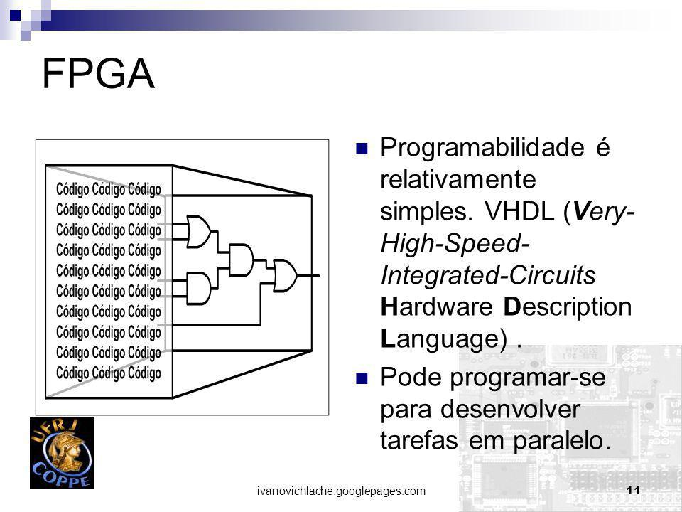 FPGA Programabilidade é relativamente simples. VHDL (Very-High-Speed-Integrated-Circuits Hardware Description Language) .