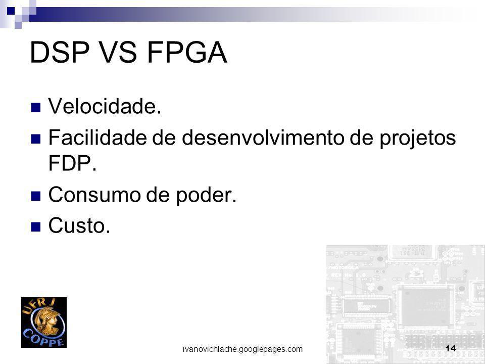 DSP VS FPGA Velocidade. Facilidade de desenvolvimento de projetos FDP.