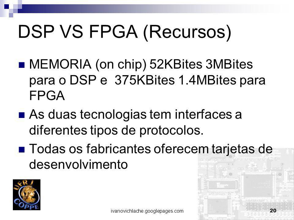 DSP VS FPGA (Recursos) MEMORIA (on chip) 52KBites 3MBites para o DSP e 375KBites 1.4MBites para FPGA.
