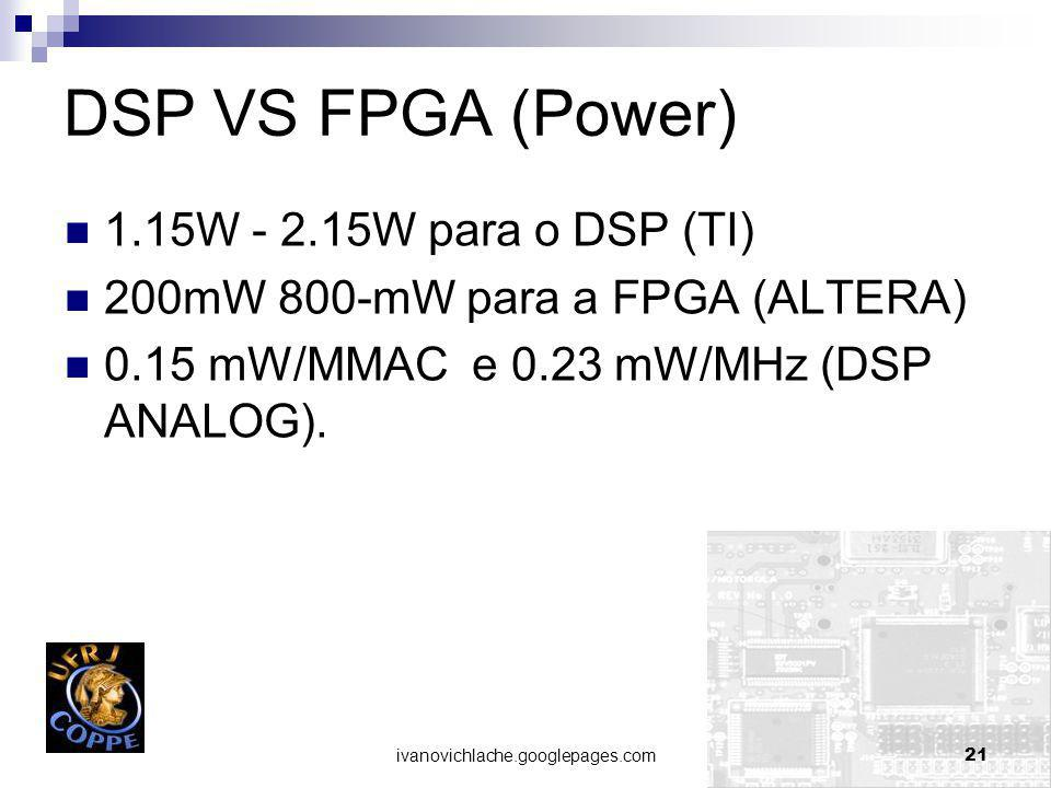 DSP VS FPGA (Power) 1.15W - 2.15W para o DSP (TI)