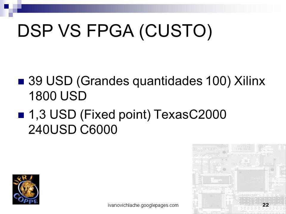 DSP VS FPGA (CUSTO) 39 USD (Grandes quantidades 100) Xilinx 1800 USD