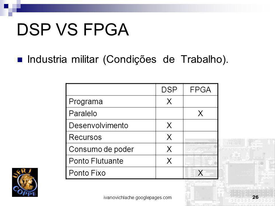 DSP VS FPGA Industria militar (Condições de Trabalho). DSP FPGA
