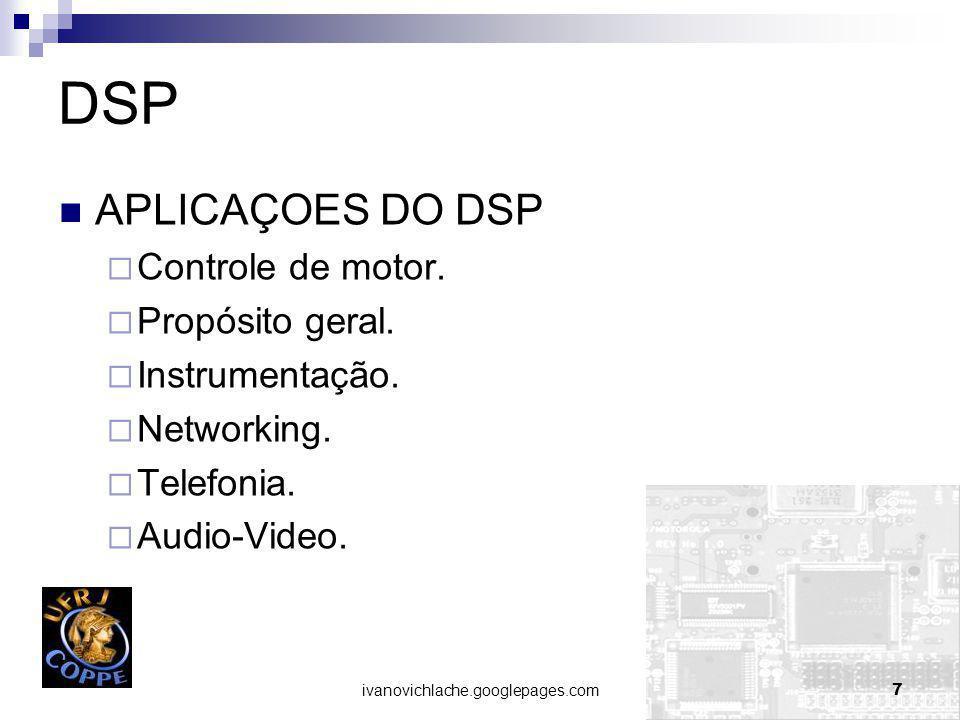 DSP APLICAÇOES DO DSP Controle de motor. Propósito geral.