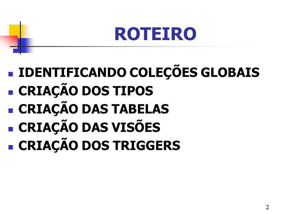ROTEIRO IDENTIFICANDO COLEÇÕES GLOBAIS CRIAÇÃO DOS TIPOS