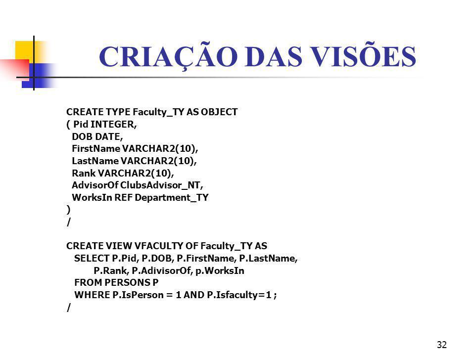 CRIAÇÃO DAS VISÕES CREATE TYPE Faculty_TY AS OBJECT ( Pid INTEGER,