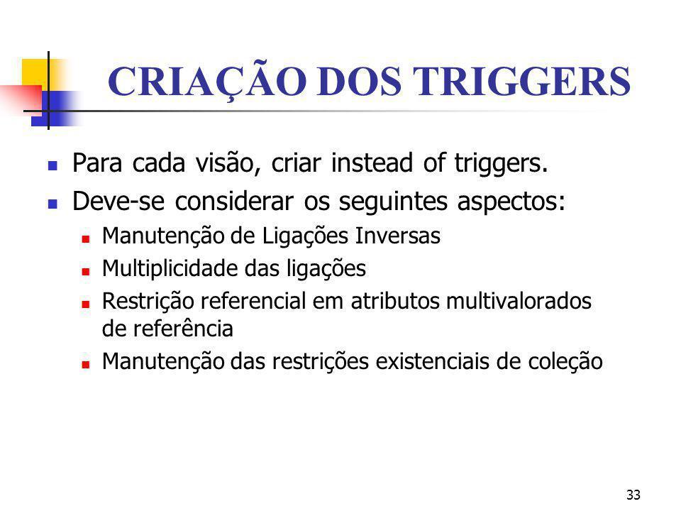 CRIAÇÃO DOS TRIGGERS Para cada visão, criar instead of triggers.