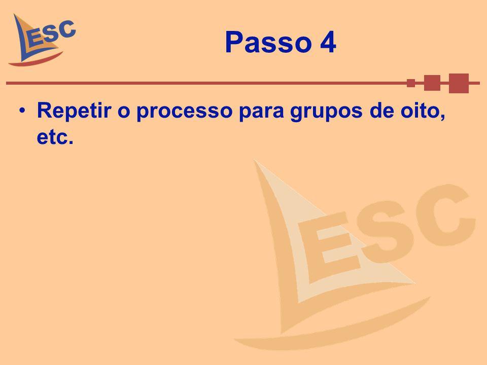 Passo 4 Repetir o processo para grupos de oito, etc.
